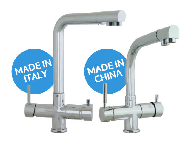 Made in Italy and Made in China 5 ways faucet